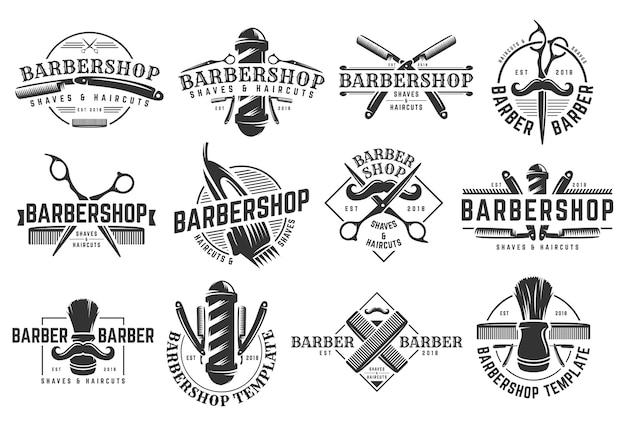 Um, jogo, de, barbearia, vindima, logotipo, modelo