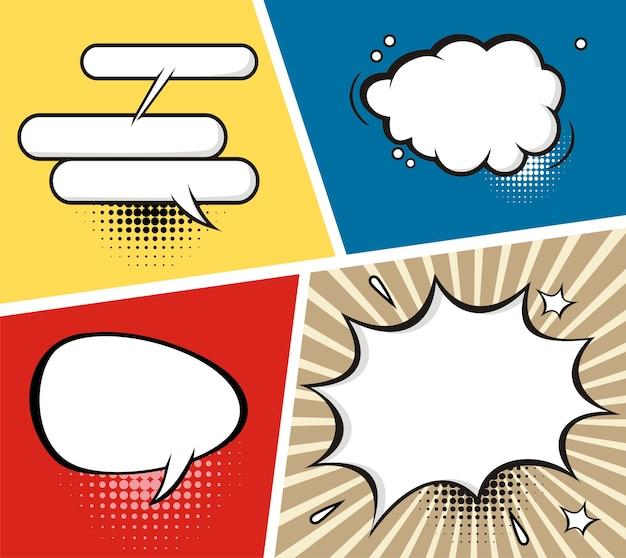 Um, jogo, de, cômico, fala, bolhas, e, elementos