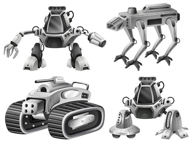 Um, jogo, de, isolado, robô