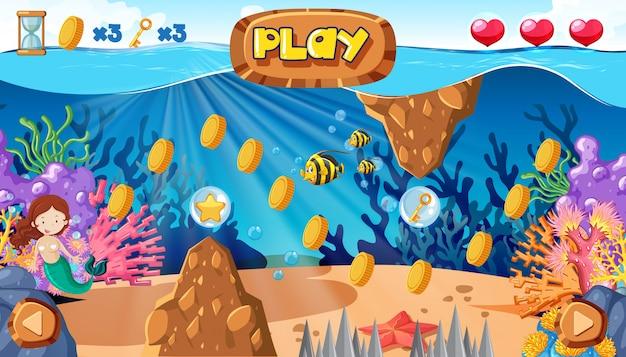 Um jogo de sereia sob o oceano