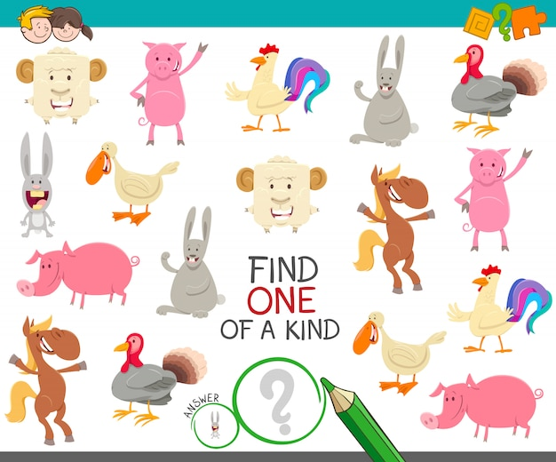Um jogo de um tipo com animais de fazenda dos desenhos animados