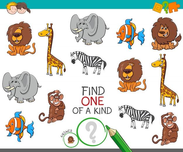 Um jogo único com animais selvagens dos desenhos animados