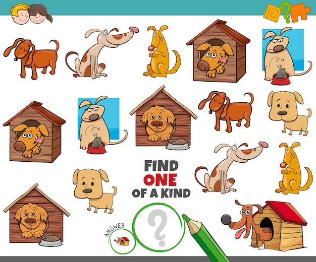 Um jogo único para crianças com cães, animais