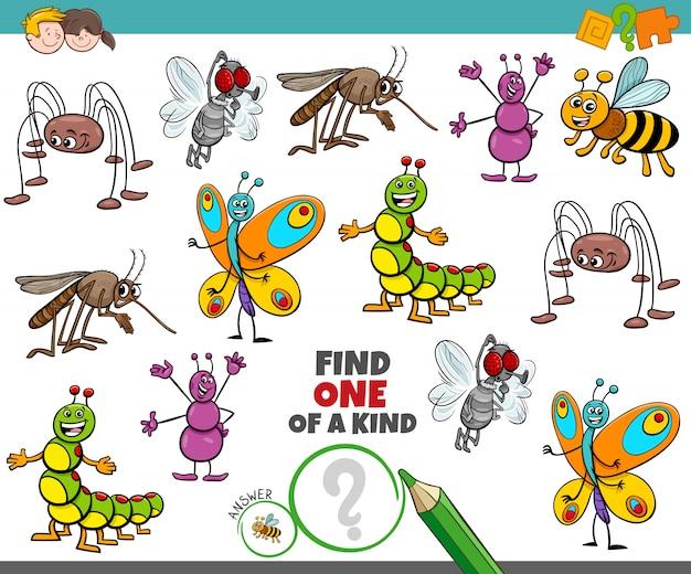 Um jogo único para crianças com insetos felizes