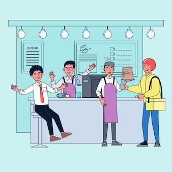 Um jovem abre uma pequena cafeteria. vendendo café e bolo é barista e dirige a loja sozinho. o negócio está crescendo com clientes frequentes e entregas. ilustração plana