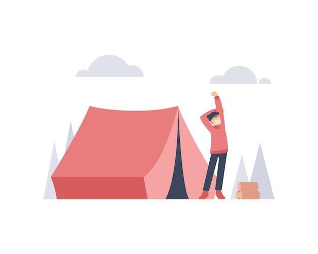 Um jovem acorda e se espreguiçando na frente de seu acampamento na ilustração de uma montanha