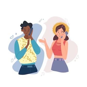 Um jovem casal está falando de lugares diferentes usando um telefone celular. uma foto mostra a usabilidade dos dias de hoje. fácil de trabalhar, amar ou cooperar independentemente da distância.