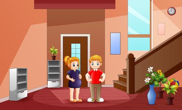 Um jovem casal na ilustração de casa