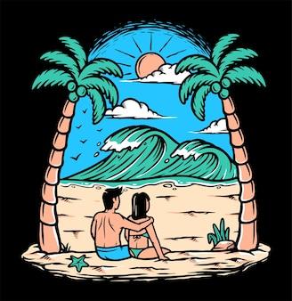 Um jovem casal na praia