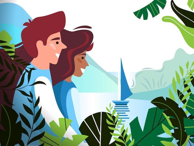 Um jovem casal romântico da floresta
