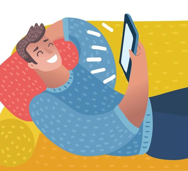 Um jovem caucasiano com fone de ouvido deitado no sofá ouvindo música com pizza