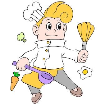 Um jovem chef está atuando como chef na cozinha, processando ingredientes alimentares, arte de ilustração vetorial. imagem de ícone do doodle kawaii.