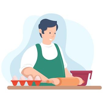 Um jovem chef está fazendo um bolo na cozinha pela manhã