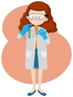 Um jovem cientista e tubo de ensaio