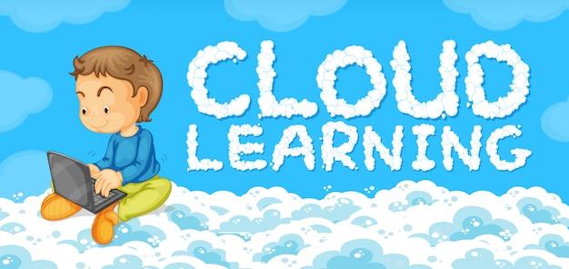 Um jovem com modelo de aprendizagem de nuvem