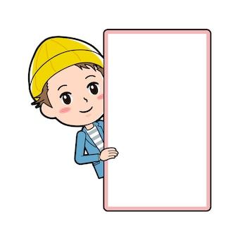 Um jovem com um gesto de placa meio corpo sorriso.