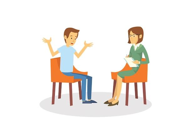 Um jovem deprimido fazendo psicólogo consulta