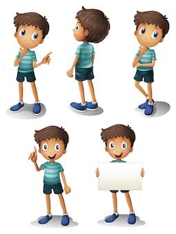 Um jovem em diferentes posições