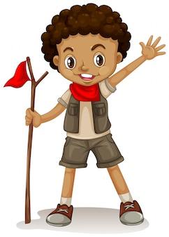 Um jovem escoteiro