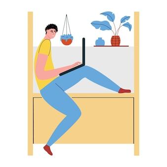 Um jovem está trabalhando em um laptop. conceito de trabalho remoto freelance. ilustração em vetor