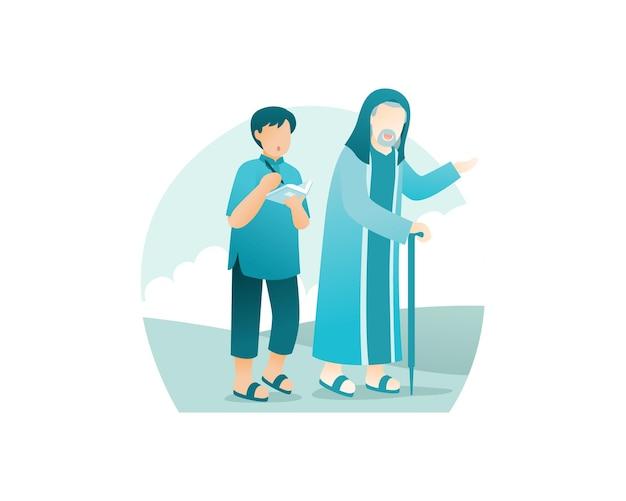 Um jovem muçulmano caminhando com o avô e ouvindo seus conselhos