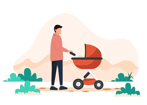 Um jovem pai caminha com um carrinho de bebê no parque.