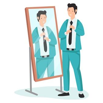 Um jovem pai feliz está se olhando no espelho
