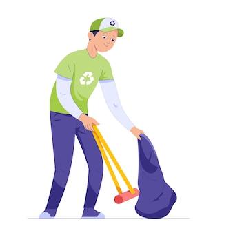 Um jovem pega lixo com um pau e carrega um saco de lixo