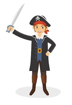Um jovem pirata com sua espada