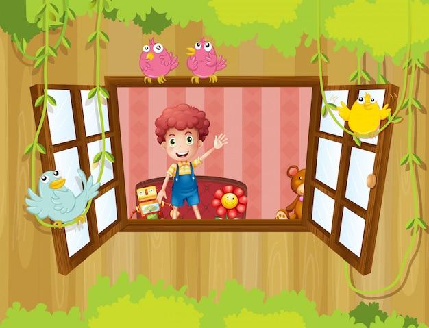 Um jovem rapaz dentro de casa acenando perto da janela