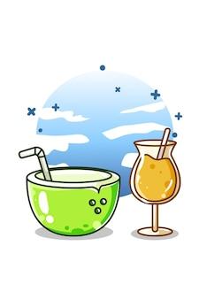 Um jovem sorvete de coco e suco de laranja