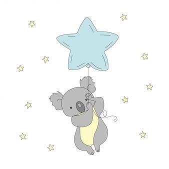 Um koala bonito está voando um balão no céu entre as estrelas.