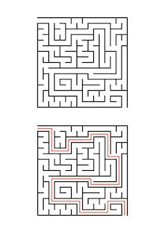 Um labirinto quadrado para crianças.
