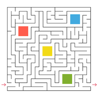 Um labirinto quadrado.