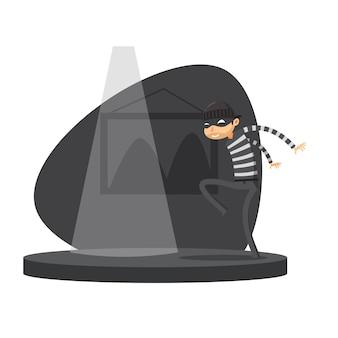 Um ladrão está andando sorrateiramente. ilustração vetorial isolado