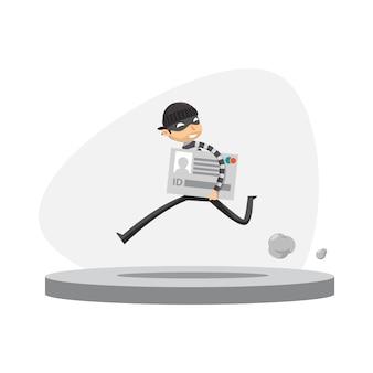 Um ladrão está correndo segurando cartão de identificação. ilustração vetorial isolado