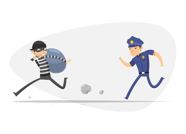 Um ladrão está sendo perseguido por um policial. ilustração vetorial isolado