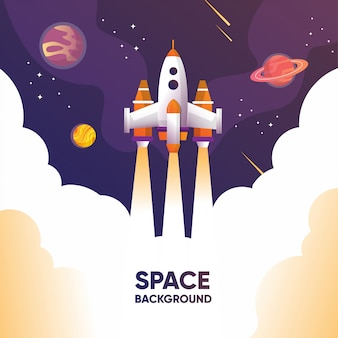 Um lançamento de foguete para o espaço com o planeta e a galáxia explorar o universo com ilustração de meteoros e estrelas
