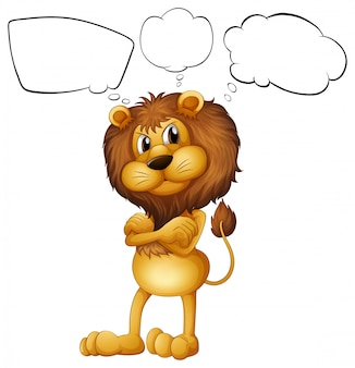 Um leão com os textos explicativos em branco