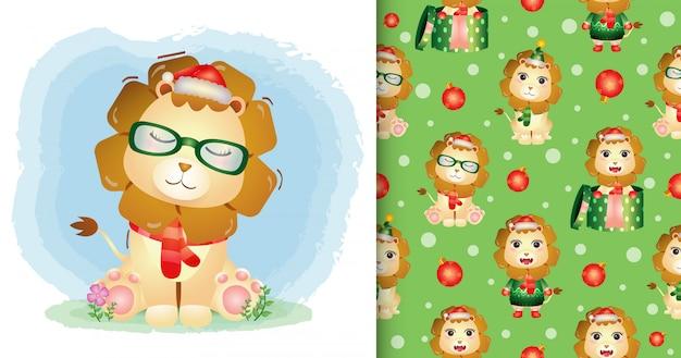 Um leão fofo personagens de natal com chapéu de papai noel e lenço. padrão sem emenda e desenhos de ilustração