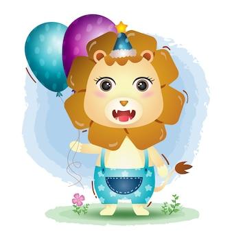 Um leão fofo usando um chapéu de aniversário e segurando um balão