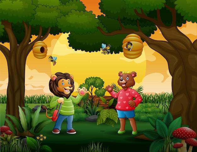 Um leão homem e mulher na madeira