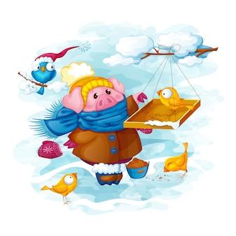 Um leitão alimenta o grão de pássaros engraçados no inverno.
