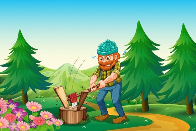 Um lenhador trabalhador cortando a madeira perto do jardim no topo da colina