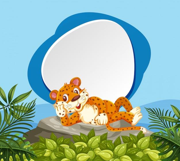Um leopardo na bandeira da natureza