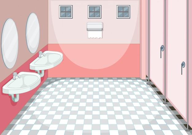 Um, limpo, banheiro, fundo