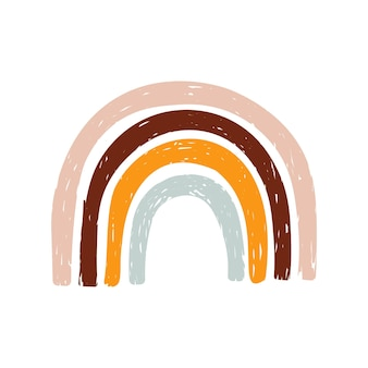 Um lindo arco-íris colorido desenhado à mão no estilo boho, isolado no fundo branco.