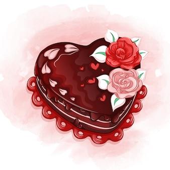 Um lindo bolo de férias em forma de coração com rosas creme e cobertura de chocolate.