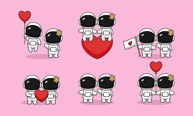 Um lindo casal astronauta se apaixonando