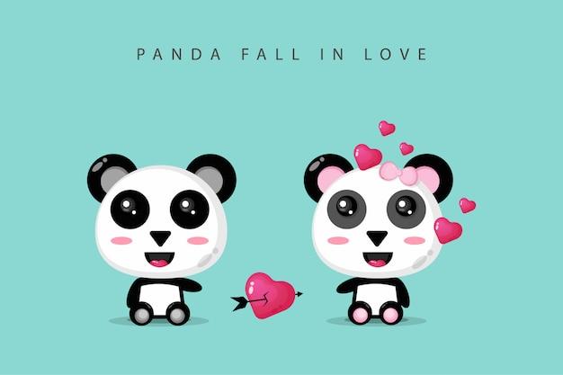 Um lindo casal de pandas está apaixonado